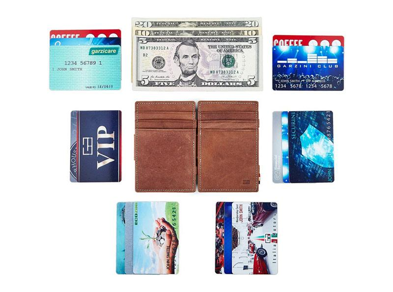 the garzini leather wallet surrounded by credit cards
